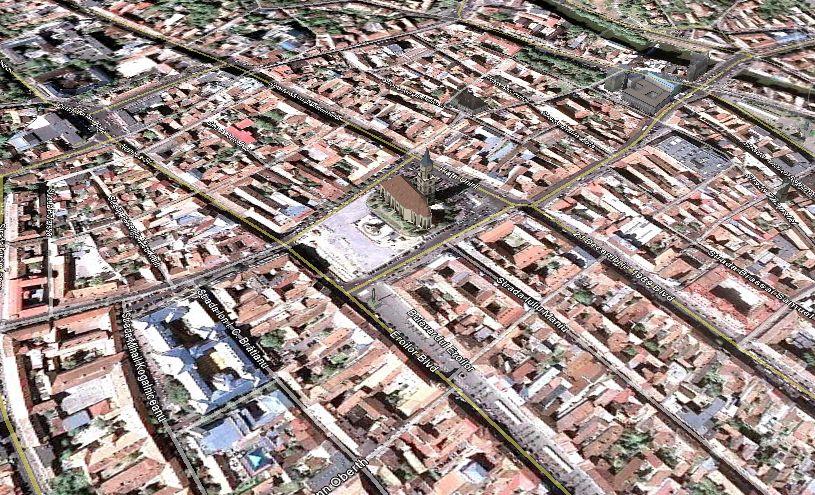 Centrul Clujului, vazut din Google Earth