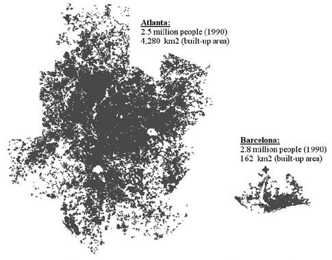 Masa urbană a Atlantei şi a Barcelonei, la aceiaşi scară