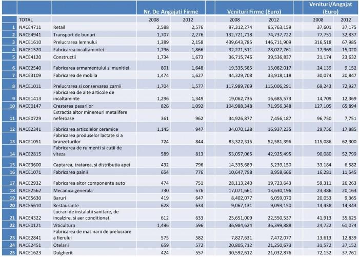 Date economice pentru cele mai mari sectoare economice din Judeţul Alba