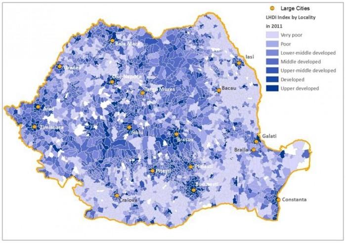 Indicele de Dezvoltare Umană Locală este ridicat în jurul centrelor urbane dinamice