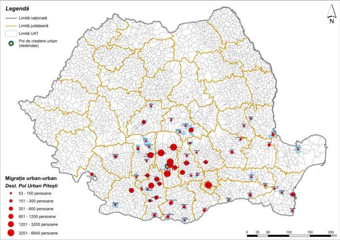 Migrația urban-urban către Pitești (2011)