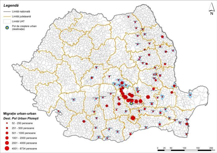 Migrația urban-urban către Ploiești (2011)