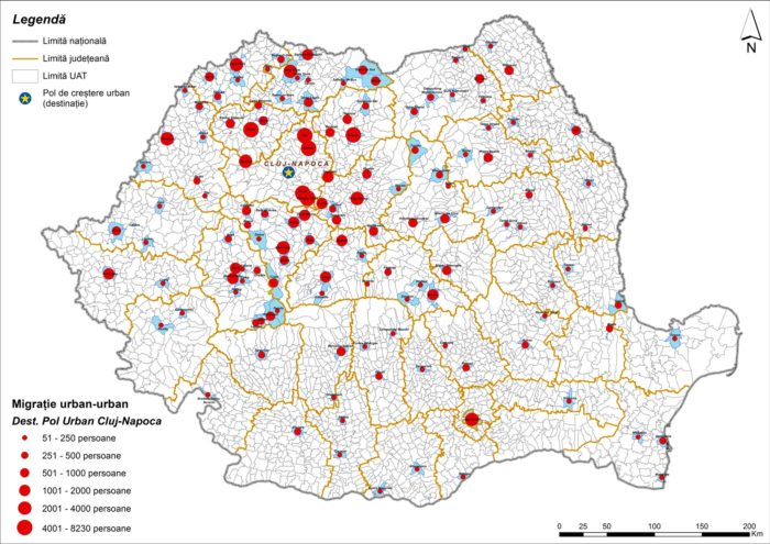 Migrația urban-urban către Cluj-Napoca (2011)