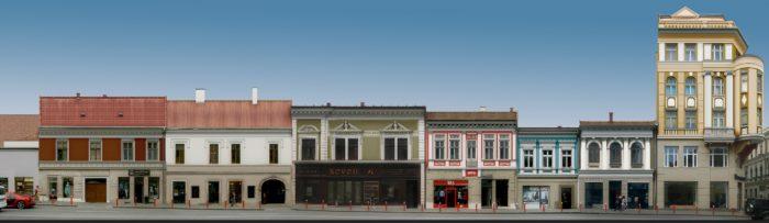 Propunere (3) pentru refațadizarea clădirilor de pe Str. Regele Ferdinand – culoare unitară la parter și schimbarea culorilor la etajele superioare