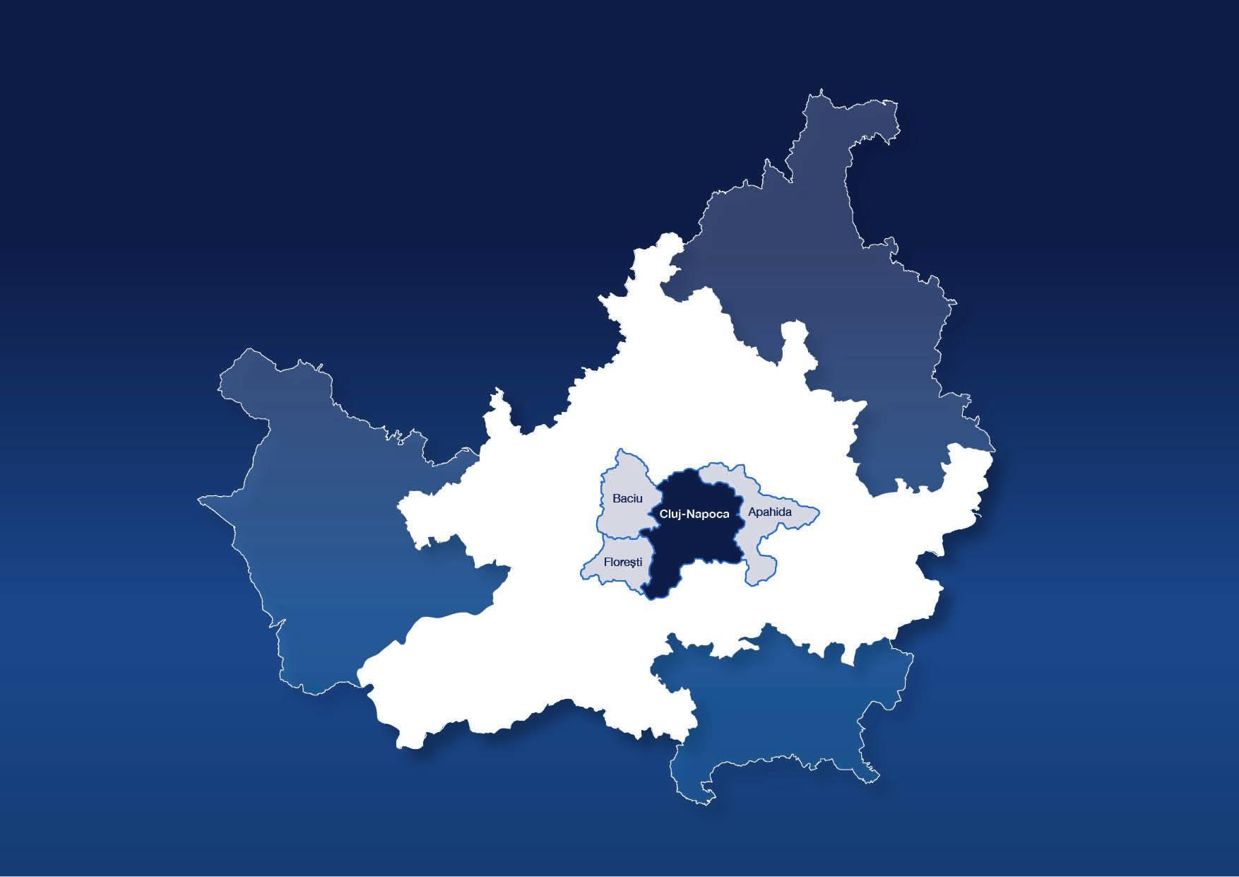 Contopirea administrativă a municipiului Cluj-Napoca cu comunele Florești, Apahida și Baciu.