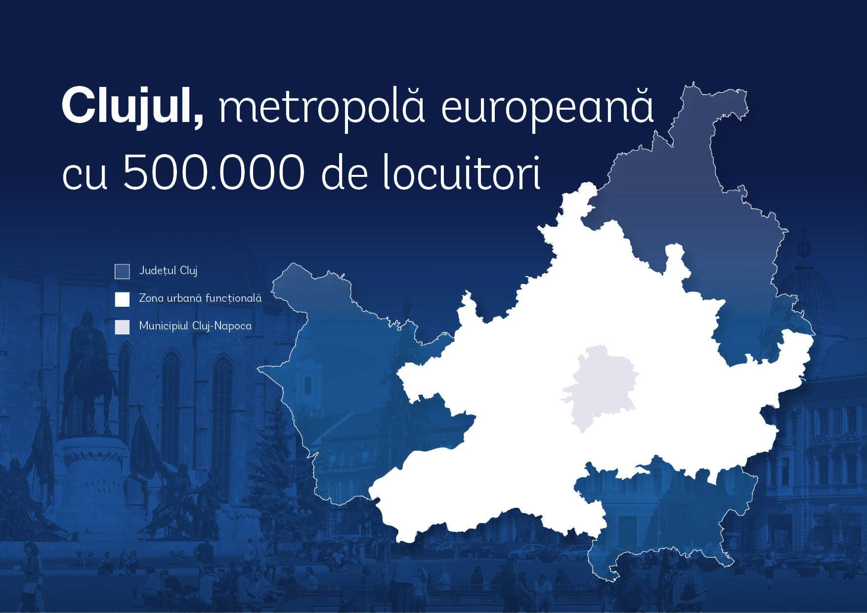Clujul, metropolă europeană cu 500.000 de locuitori în 2030.