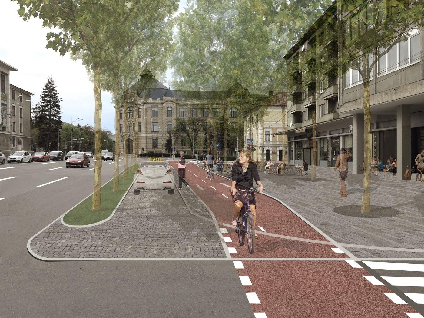 Piața Lucian Blaga după reabilitare: crește calitatea spațiului, se extinde zona pietonală și se creează o nouă pistă de biciclete. Sursă: Planwerk.