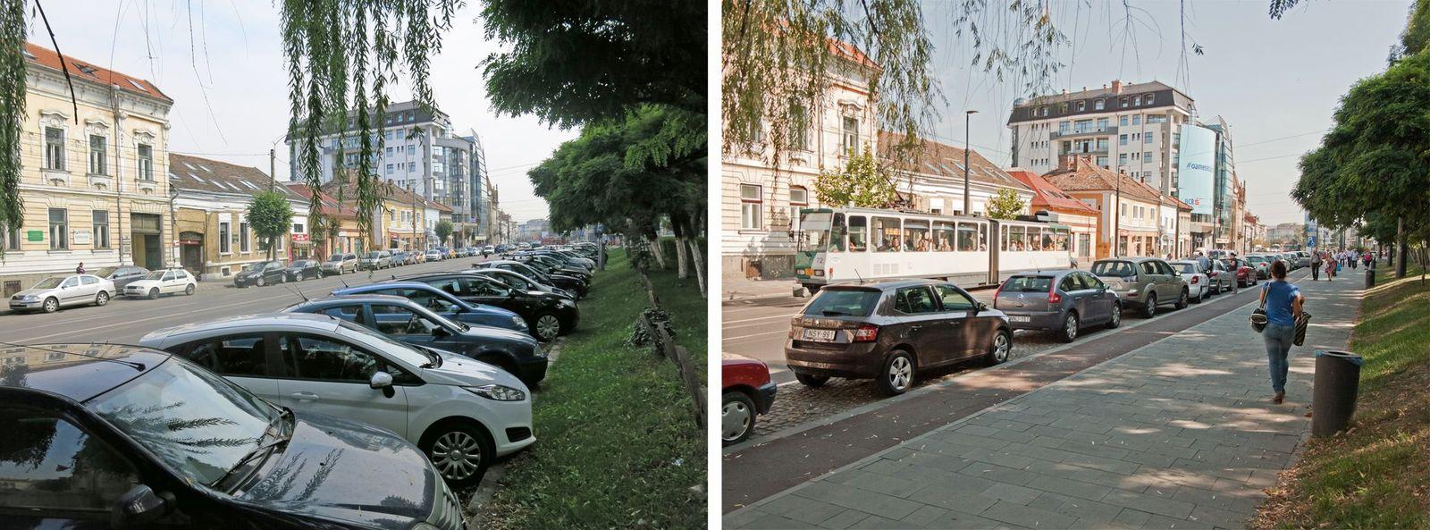 Strada George Barițiu înainte și după reabilitare.