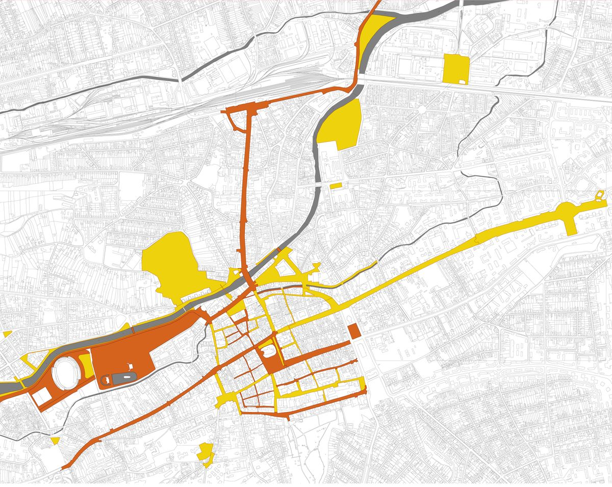 Rețeaua de transformări ale spațiului public. Cu galben, operațiunile încă nerealizate. O parte din aceste proiecte au fost coordonate de către Planwerk.