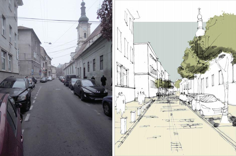 Cum arată acum strada Emile Zola și cum ar putea ea arăta după reabilitare, conform unui schițe mai vechi a urbaniștilor de la Planwerk.