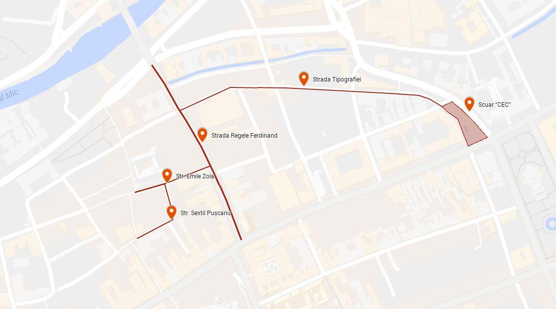 Harta cu străzile incluse în proiectul de modernizare/pietonalizare