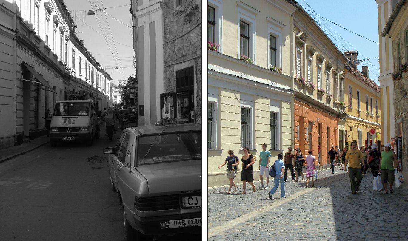 Pavarea străzii Matei Corvin, înainte și după. Succesul acesteia pentru pietoni a fost un moment de cotitură pentru începerea pietonalizării altor străzi și a Pieței Unirii.