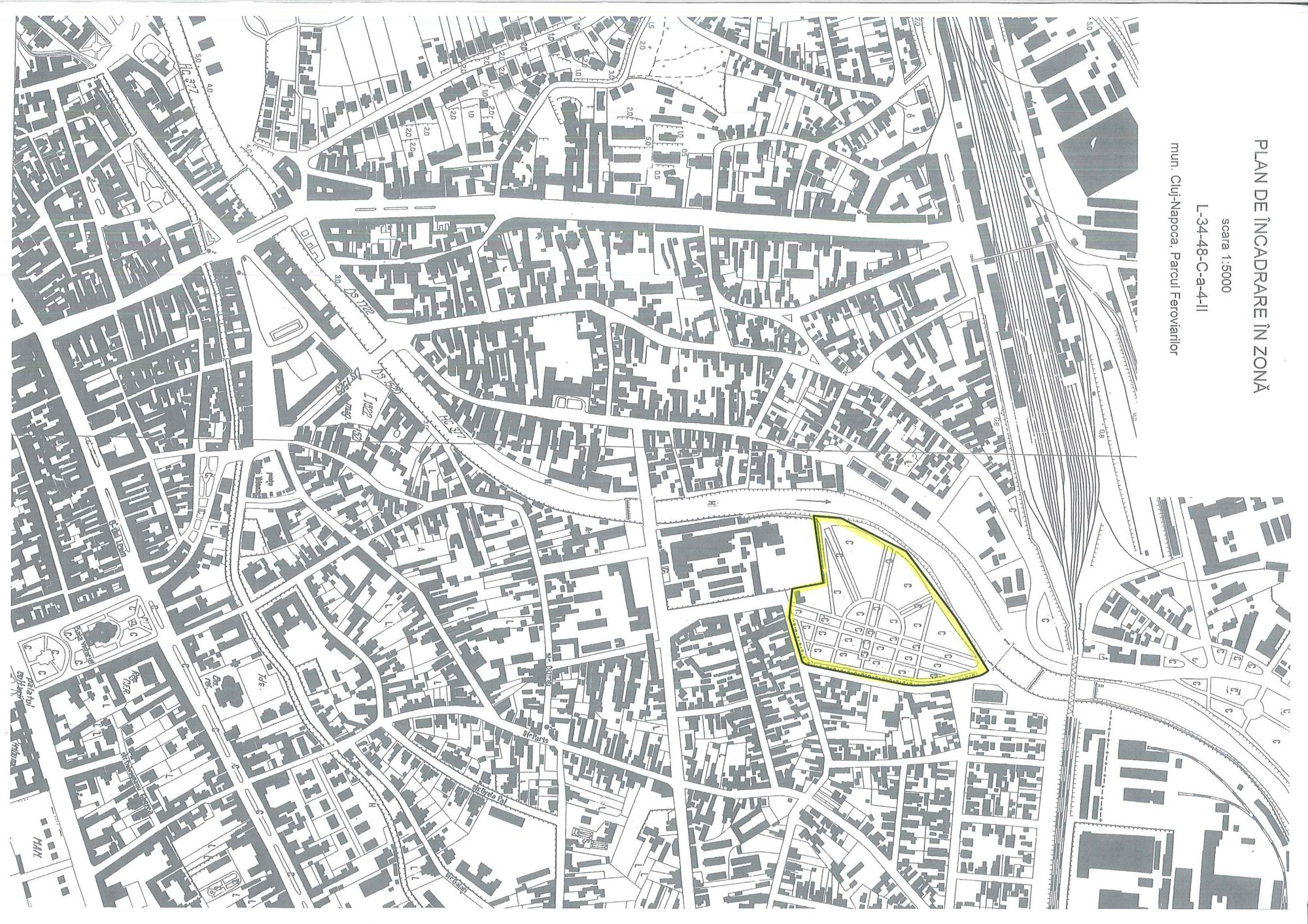 Planul de încadrare în zonă a Parcului Feroviarilor. Foto: OAR