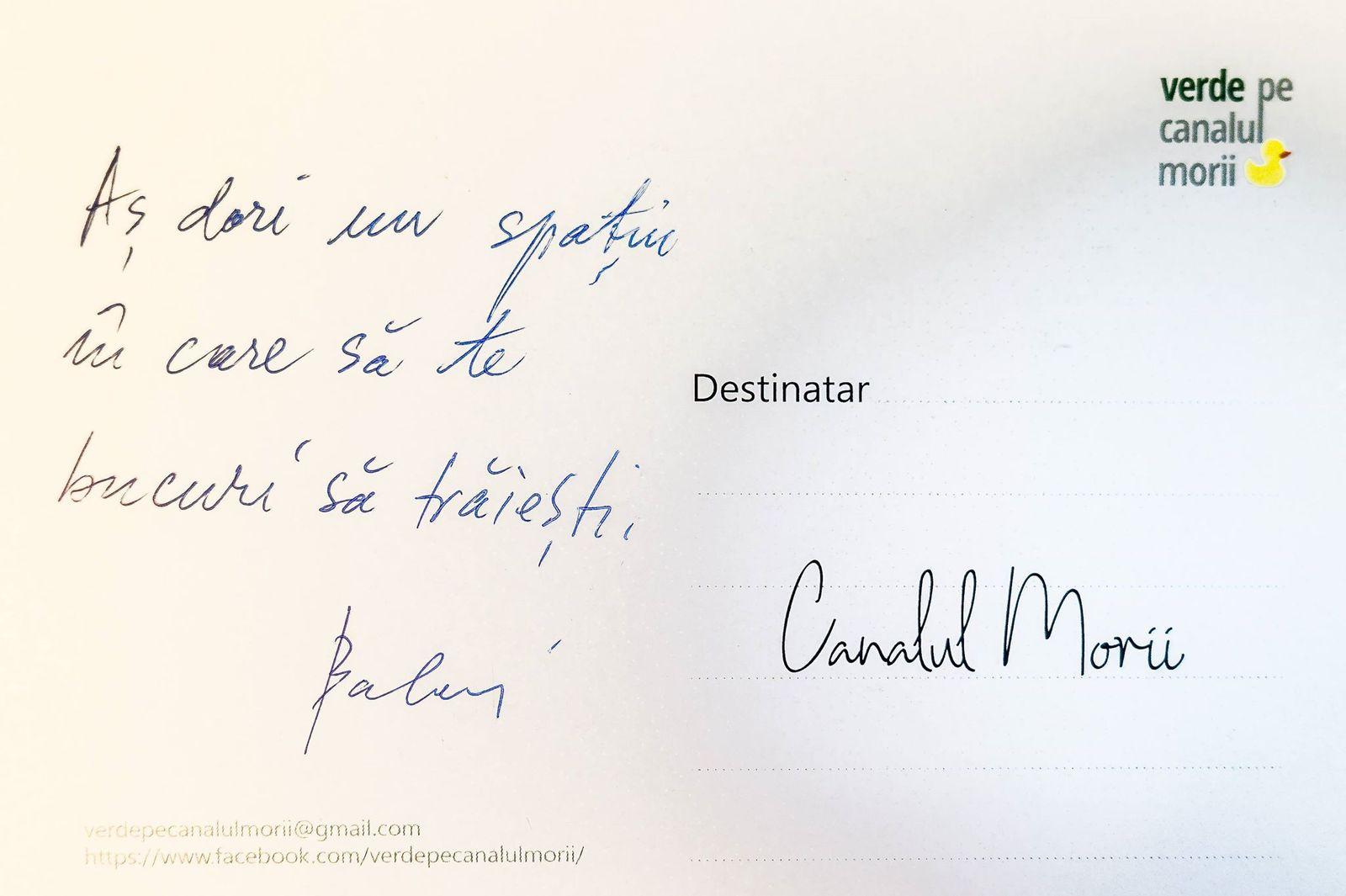 Echipa de voluntari Verde pe Canalul Morii a realizat de curând un sondaj de opinie în zona Parcului Farmec din Mărăști. Locuitorii din zonă au pututscrie sau desena răspunsul lor pe o carte poștală oferită de voluntari.