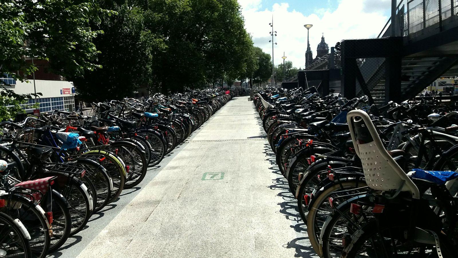 Una din parcările de biciclete de lângă gara centrală, cu o capacitate de 2.500 de locuri